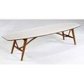 Drexel walnut surfboard coffee table with patterned white laminate top stenciled mark 16 14 x 72 x 20