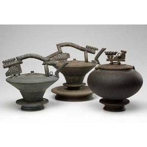 Tim mather two glazed stoneware teapots on stands and one covered jar on stand all signed largest 13 x 14 12 x 11
