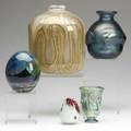 John lewis mark peiser samuel herman etc five studio glass vases all signed heights 2 34 to 8