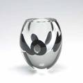 Timo sarpaneva  iittala claritas vase with black circles submerged in clear glass 1985 marked timo sarpaneva l11985 6 14 x 5