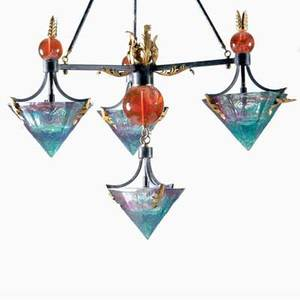 D young lucite and iron fourlight chandelier with gilt leafform finials 1993 signed d young 93 46 x 37