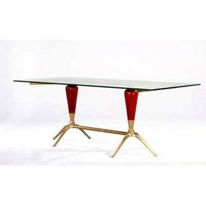 Midcentury glasstop dining table on brass and painted wood base 30 x 87 x 38