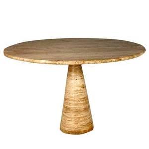 Style of angelo mangiarotti circular travertine dining table on pedestal base 29 14 x 47 dia