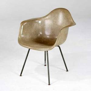 Charles eames  herman miller gray fiberglass armchair with rope edge herman miller furniture company label 29 12 x 24 x 23