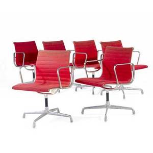 Charles eames  herman miller set of six aluminum group armchairs with red hopsack upholstery herman miller tag 34 x 23 x 23
