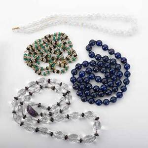 Four antique bead necklaces round lapis bead necklace 27 double strand onyx green and faceted glass station necklace 15 12 oblong faceted lead crystal beads with garnet spacers and amethyst an