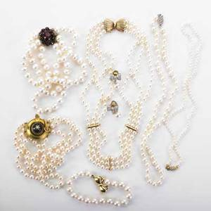 Collection of cultured pearl and gold jewelry eight pieces include single and multi strand pearl necklaces bracelets and earrings with embellished or gemset clasps 14k18k yg and wg pearls 74