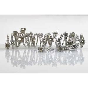 Twentyone art deco platinum ring mounts includes two with single cut diamond melee accents 19201935 sizes 4 12  8 462 dwt tw property from the collection of gray davis boone