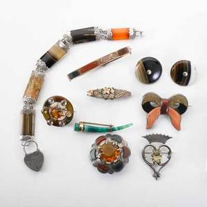 Collection of victorian celtic agate jewelry ten pieces includes brooches bracelets and earrings with colorful agate citrine or quartz and inscribed mixed metal mitzpah brooch 171 dwt gw gol