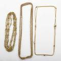 Three victorian yellow gold neck chains fancy 18k oval link chain with french hallmarks 66 14k rolo chain 35 18k thin wheat chain with seven cube stations 36 ca 1890 350 dwt property fro