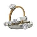 Three recent round brilliant cut diamond rings diamond solitaire approx 93 ct in platinum head 14k yg hoop size 7 14 diamond approx 80 ct german suspension platinum setting marked neis