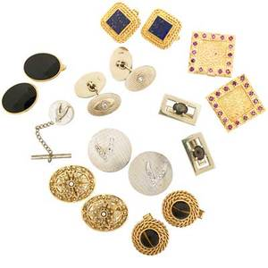 Collection of gentlemens yellow gold cufflinks seventeen pieces eight pairs of cufflinks and an associated tie tack including oval cannetille and seed pearl set with unidentified continental hallm