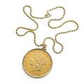 1904 liberty head 20 gold coin necklace double eagle coin in 10k numismatic mount inscribed 1926 suspends from 14 12 gold bead chain 281 dwt