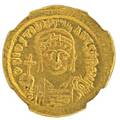 Ancient byzantine justinian i av solidus coin 527565 ad 447 g constantinople mint 6th officina struck 545565 obverse helmeted and cuirassed bust facing holding globus cruciger and shield r