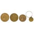 Us gold coins four 1909d 500 1857 300 1929 2 12 d 1852 100