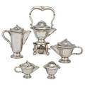 Gonzolo moreno mexican silver coffee service five substantial vessels in the jensen style with wood insulators kettle on stand with burner 16 coffee pot 11 teapot 7 12 covered sugar bowl