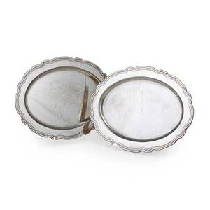 Tiffany  co sterling serving trays set of two oval trays with shaped edge 19251947 20 x 15 1474 ot