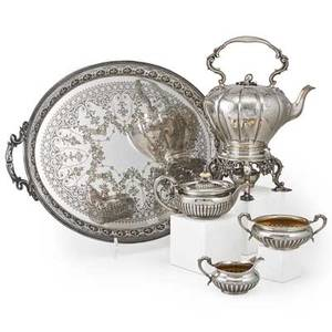 Assembled english silver and plate tea service five pieces four hollow sterling vessels melon form hot water kettle on stand with burner with melon finial eej  wm bernard london 1840 engra