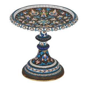 Russian enameled silver gilt tazza v akimov shallow bowl with scalloped apron and knopped column floral and ribbons of delicately shaded cloisonne enamel on stippled ground stepped dome foot mos