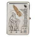 15 artel jeweled 84 silver cigarette case moscow slavic warrior repousse applied gold cyrillic monogram gold mounted sapphire cabochon aquamarine garnet thumbpress signature facsimiles engraved