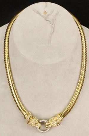 18k Gold  Diamond Panther Necklace