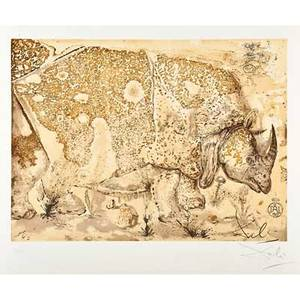 After salvador dali spanish 19041989 rhinoceros 1971 lithograph in colors signed and numbered 221300 30 x 22 18 sheet publisher sala gaspar barcelona provenance private collec