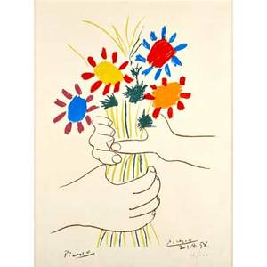 Pablo picasso spanish 18811973 fleurs et mains 1958 lithograph in colors framed signed and numbered 34200 25 x 18 12 sight literature czwiklitzer 147 provenance private colle