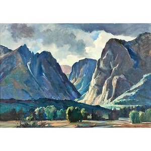 Stephen g maniatty american 19101984 hells canyon grand teton wyoming oil on canvas framed signed and titled 25 x 36 14 provenance private collection maine