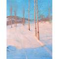 Sven svendsen norwegianamerican 18641945 moonlit snow scene oil on canvas framed signed 28 12 x 22 18 provenance campanile galleries inc chicago label on verso private coll
