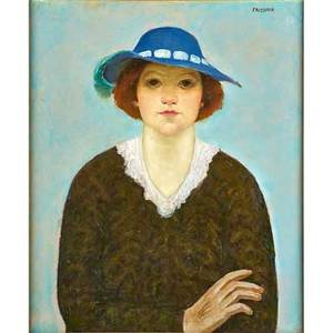 Arnold friedman american 18741946 untitled young woman in a blue hat ca 19301937 oil on canvas framed signed 24 x 20 provenance zabriskie gallery new york label on verso p