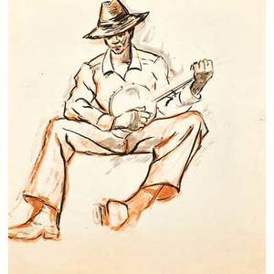 Dox thrash american 18931965 untitled man with banjo watercolor and ink on paper 9 34 x 9 18 irregular provenance private collection new jersey note accompanied by original rec