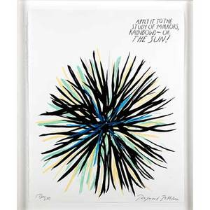 Raymond pettibon american b 1957 untitled apply it to the study of mirrors rainbowor the sun 2005 screenprint in colors framed signed and numbered 172200 20 x 16 sheet proven