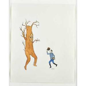 Marcel dzama canadian b 1974 untitled tipping hat to tree 2000 ink and watercolor on paper framed signed 12 12 x 10 sheet provenance greg kucera gallery new york label on ver