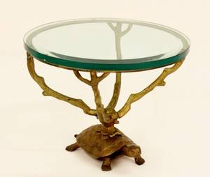 Small Bronze Occasional Table wTurtle Decoration