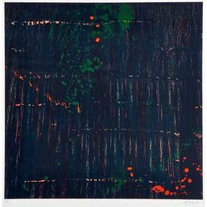 Pat steir american b 1938 composition in dark 1998 lithograph in colors framed signed and numbered 735 28 x 28 sheet publisher landfall press chicago provenance private colle