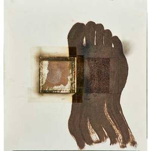 Jesse amado american b 1951 five works of art untitled 1997 stamp and india ink on paper signed and dated 12 x 12 sheet untitled a 1995 mixed media on paper fire burns sign