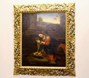 Mary Adoring the Christ Child After Correggio Oil