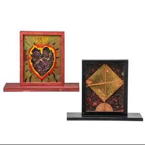Adolfo patino mexican 19542005 four constructions corazon en oro 1988 mixed media signed and dated 12 x 14 12 x 6 34 with base reloj huichol 1988 mixed media signed and date