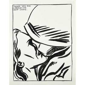Raymond pettibon american b 1957 untitled thank you for liberating kent state 1987 ink on paper framed signed and dated 14 x 11 sheet provenance private collection