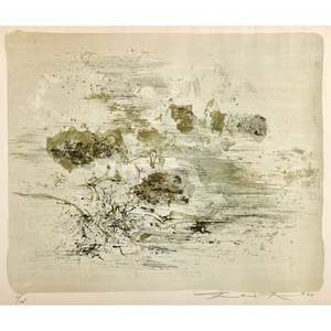 Zao wouki chinese 19212013 untitled 1960 lithograph in colors framed signed dated and numbered 91175 17 12 x 20 38 sight publisher loeuvre gravee zurich provenance priva
