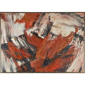 Aaron levy american 20th c untitled 1961 oil on canvas framed signed and dated 38 14 x 55 18 provenance estate of bernice sacks new york