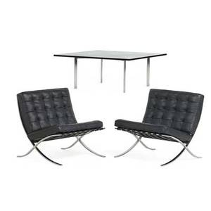 Ludwig mies van der rohe 1886  1969 knoll international pair of barcelona chairs and table new york 1980s stainless steel leather glass upholstery labels frames stamped kp and kk chairs
