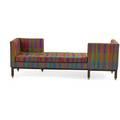Edward wormley 1907  1995 dunbar teteatete berne in 1950s walnut upholstery upholstery label 28 x 81 x 29