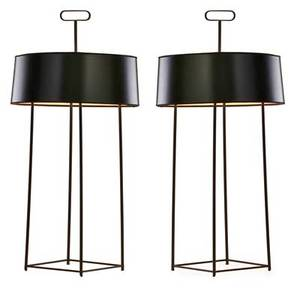 Tommi parzinger 1903  1981 pair of table lamps new york 1960s enameled brass glass paper shades two sockets each unmarked 34 12 x 17 dia note designed to feature an object