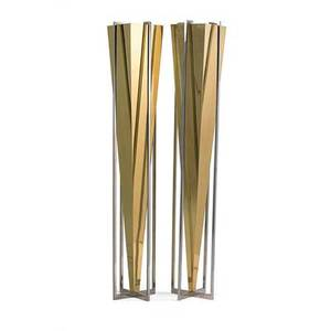 Style of karl springer pair of torcheres usa 1980s brass chromed steel unmarked 82 12 x 15 sq