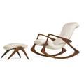 Vladimir kagan b 1927 kagandreyfuss rocking chair no 175f and ottoman new york 1950s sculpted walnut vinyl chair is branded chair 36 x 32 x 42 ottoman 15 x 21 x 20