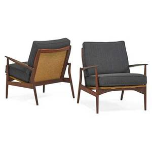 Ib kofodlarsen 1921  2003 selig pair of lounge chairs denmark 1960s sculpted teak woven cane upholstery one branded made in denmark 31 x 29 x 30