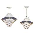 Preben dal hans folsgaard as two symfoni pendant lamps denmark 1960s enameled steel single socket paper made in denmark label and paper lightolier label fixture only 17 12 x 18 14 x 13