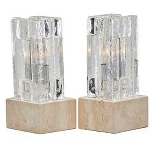 Pukeberg pair of table lamps sweden cast glass travertine two sockets each pukeberg decal labels on bases 13 x 6 14 x 5 12 glass only 9 12 x 5 x 4