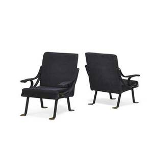 Ignazio gardella 1905  1999 gavina pair of digamma adjustable lounge chairs italy 1950s enameled steel brass upholstery unmarked 34 12 x 28 x 31 12 literature gramigna il design in